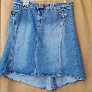 Candee's high/low denim skirt